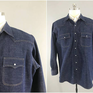 Vintage Western Denim Shirt / Pearl Snap Buttons / Scalloped Shoulders / Indigo Blue Denim / 3XL / Big and Tall / Unbranded / Big Boy Shirt
