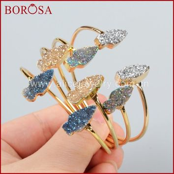 BOROSA Gold Color Copper Bangles Rainbow Titanium Druzy Crystal Arrowhead Adjustable Bangle for Women Jewelry G1174