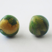Green and gold marbled earrings, green and gold earrings, marbled stud earrings, green and gold jewelry