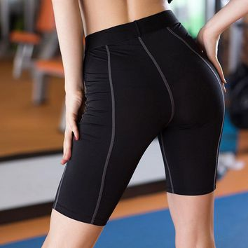 Thigh-length Women Gym Compression Shorts Spandex Ladies Volleyball Running lycra Athletic