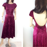 Vintage 90s Dress Crushed Velvet Dress Raspberry Dress Pink Midi Dress Stretchy Velvet Dress Pink Paty Dress Low Back Dress L XL plus size