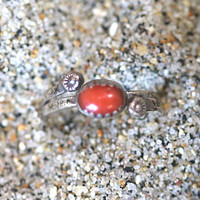 Navajo Red Coral Sterling Silver Ring F Begay Stacking