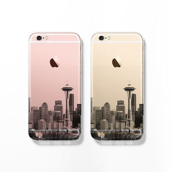 Seattle skyline iPhone 6 case, iPhone 6s case, clear transparent case, iPhone 5s case, iPhone 5C cover, cityscape, Christmas gift C061