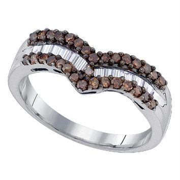 Sterling Silver Women's Round Cognac-brown Color Enhanced Diamond Chevron Band Ring 1-2 Cttw - FREE Shipping (US/CAN)