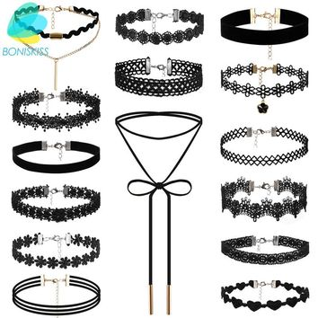 Boniskiss 15pcs/lot Tattoo Punk Collars Vintage Love Lace Flower Necklace Choker For Women Chain Jewelry Statement Collier