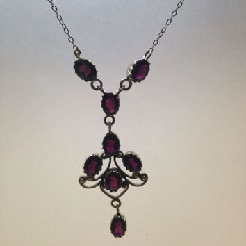 "Bohemian ""Y"" necklace Droplet, garnet  and Sterling Silver Necklace"