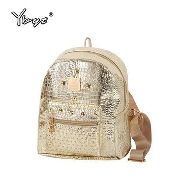 YBYT brand 2017 new casual women rivets rucksack preppy style girls small bookbags female shopping bags ladies travel backpacks