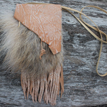 Coyote Fur Medicine Bag with Distress Cream and White Goat Leather, Fringed Necklace Pouch