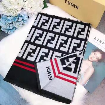 FENDI casual fashion knit F jacquard men's and women's hot sales scarf