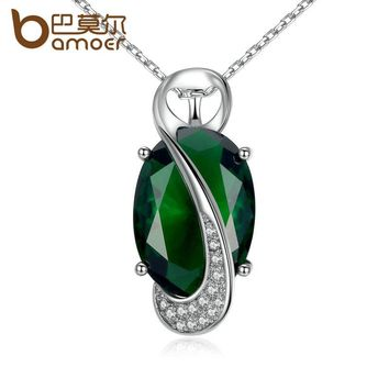 BAMOER 41.5+5CM Chain Green Stone Oval Cutting High Quality Necklaces & Pendants Women Fashion Jewelry JIN102-GN