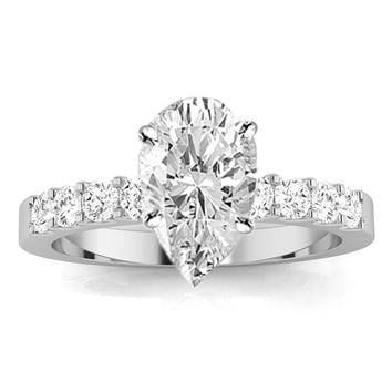 CERTIFIED   1 Carat Classic Prong Set Diamond Engagement Ring (D Color, VS2 Clarity Center Stones) - Pear Shape (White gold)