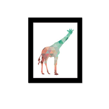 Funlife Colourful Geometric Giraffe Canvas Art Print Poster, Wall Pictures for Home Decoration, Wall Decor  CP005