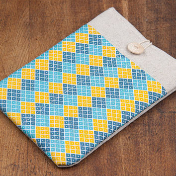 iPad case. iPad mini or iPad AIR case with colorful retro rhombus pocket and button, sleeve, bag, pouch. Tablet case. iPad 1 2 3 4 cover.