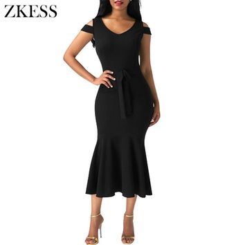 ZKESS Women Sexy Cold Shoulder Bow Mermaid Ruched Midi Dress Autumn New Bodycon Formal Office Dresses Party LC61686