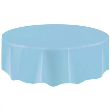 1pc Waterproof Round Table Cover Party Solid Round Plastic Tablecloths Ablecover Wedding Patry Event Decorations Home Decor