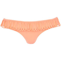 Orange laser cut frill bikini bottoms