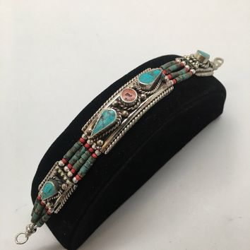 1pc, Nepalese Red Coral & Green Turquoise Inlay Statement Boho Bracelet, NPB92