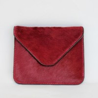 BURGUNDY PONY HAIR CLUTCH