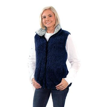 Simply Southern Sherpa Vest Monogrammed - Navy