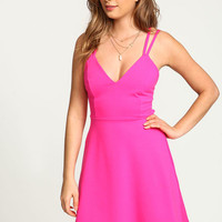 PINK CAGE STRAPPY FLARE DRESS