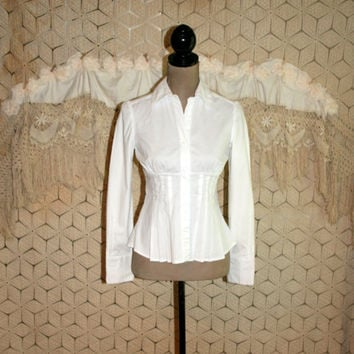 White Cotton Blouse Womens Shirt Pleated Corset Waist Top XS Small Button Up Long Sleeve Edwardian Goth Gothic Vintage Womens Clothing