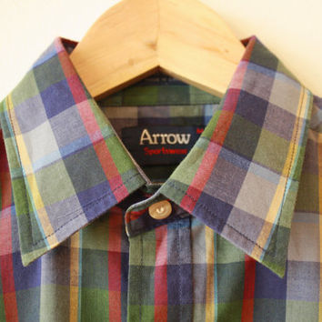Bright Plaid Arrow Button Up Vintage Shirt Medium