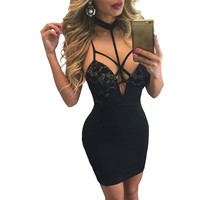 Slip Lace Dress Short Black Mini Dress Sexy Party Night Club Wear Lace Bodycon Pencil Dress SM6
