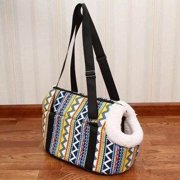 pet bag dog carrier ,travel carrying bag for dogs and cats vintage design small dog bags pink Rabbits Print cat bag pet products