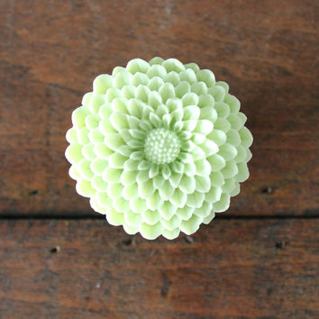 Flower Drawer knobs Mum in Light Green, more COLORS available (RFK12) LARGE