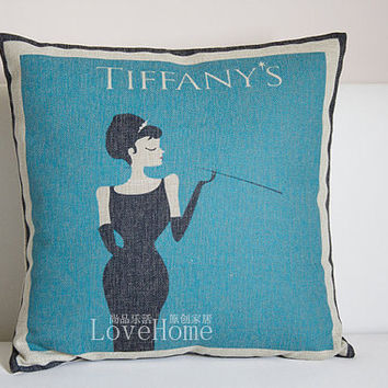 Breakfast at Tiffany's Audrey Hepburn linen cushion pillow cover sofa bedroom sitting room adornment