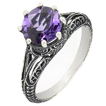 BL Jewelry Antique Finish Filigree Sterling Silver Round Cut Natural Amethyst Ring 18 CTTW
