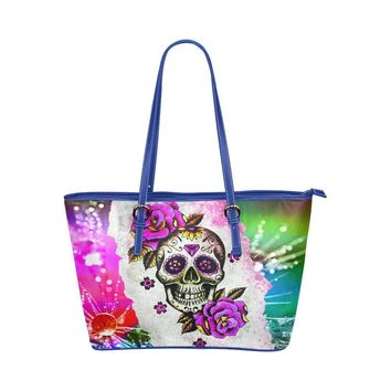 Hip Water Resistant Small Leather Tote Bags Sugar Skull #9 (5 colors)