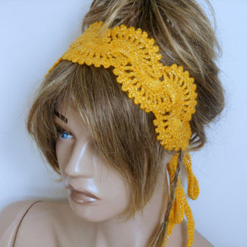 Headband Crochet, Knitting Headband, Yellow Hair Band, Handmade, Luminous Hair Bands, Hair Accessories, Headband, Hair Band, Bandana
