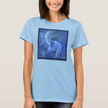 Unicorns Moons Lunar Pegasus Purple Blue Horse T-Shirt