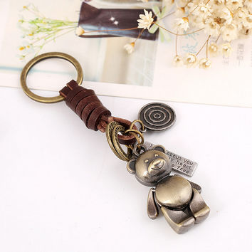 Women Bag Creative Vintage Keychain Fashion Alloy Bear Pendant Key Chains Leather Weave Vintage Key Rings Accessory Gifts S2357
