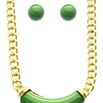 Lucite Bib  Setting Chunky Link Chain Necklace Earring Set