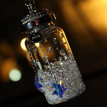 Creative Crystal Wishing Bottle Car Rearview Mirror Hanging Pendant Auto Interior Decoration Hanging Ornament Car-Styling