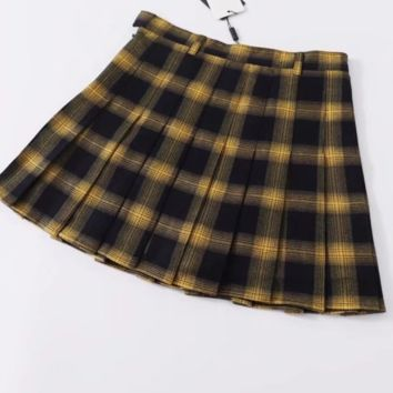 FREE SHIPPING Spring school style high quality high waist with yellow checked pleated skirt tennis skirt