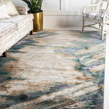 0142 Beige Blue Over-Dyed Contemporary Area Rugs