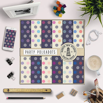 Polkadots Digital Paper Digital Scrapbook Paper Striped Polkadot Pattern Party Paper Polka Dot Pattern Print Invitation Paper 12x12 Inches