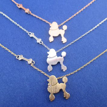 French Poodle and Dog Bone Silhouette Shaped Pendant Necklace