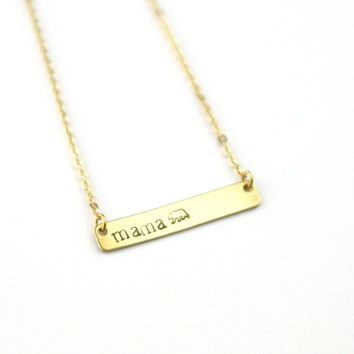 Peachtree Lane - Mama Bear - Stamped Bar Necklace