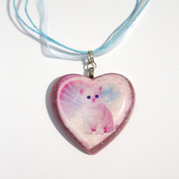 Pastel Heart Kitten Kawaii Necklace from Funky Catsterz