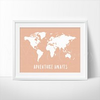 Adventure Awaits World Map, Peach