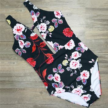 One Piece Bathing Suit Sexy Retro Deep V Neck Plunging Floral Trikini High Waist Cut Swim Bathing Suit Monokini Thong Swimwear Women  Swimsuit KO_9_1