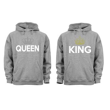 XtraFly Apparel King Rey Queen Reina Valentine's Matching Couples Hooded-Sweatshirt Pullover Hoodie