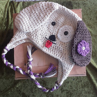 Crochet Puppy Ear Flap Hat Newborn - 4T