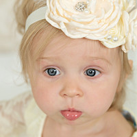 Ivory & Buttercream Clustered Layered Flowers, Feathers, & Pearls Headband