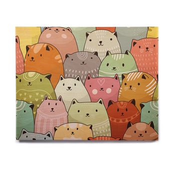 "Snap Studio ""Kitty Attack"" Cat Illustration Birchwood Wall Art"