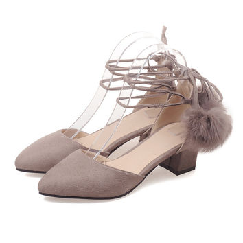 Plus Large Size Cross Strap Women Sandals Thick Block Medium High Heels Flock Faux Suede Pompon Party Casual Summer Ladies Shoes